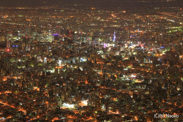 藻岩山展望台 札幌テレビ塔を望む
